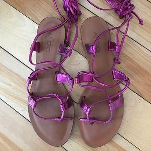 ALDO Metallic Pink Lace Up Gladiator Sandal